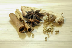 Chinese spices blend. Five kind of Chinese spices for cooking Royalty Free Stock Photo