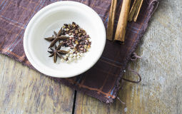 Chinese spices. In white bowl Stock Photo