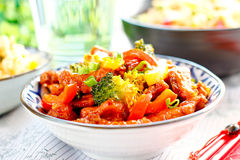 Chinese Spicy Chicken with Vegetables also called Dragon Chicken Royalty Free Stock Images