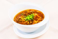 Chinese spicy and sour soup with chicken. In white plate royalty free stock images