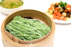 Chinese spinach infused pulled noodles Royalty Free Stock Images