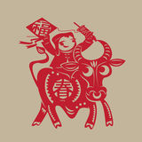 Chinese spring ox paper-cutting Royalty Free Stock Photography