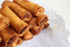 Chinese spring roll close-up Stock Image