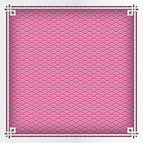 Chinese square frame on pink pattern oriental background for gre. Eting card. Vector illustration, paper cut out art style. Layers are isolated royalty free illustration