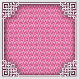 Chinese square frame on pink pattern oriental background for gre. Eting card. Vector illustration, paper cut out art style. Layers are vector illustration