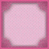 Chinese square frame on pink pattern oriental background for greeting card. Vector illustration, paper cut out art style. Layers are royalty free illustration