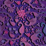 Chinese square seamless paisley floral pattern in blue, pink and lilac colors. Greeting card, print for fabric, wallpaper Stock Photo