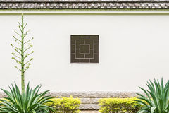 Chinese square style window in the garden Stock Photos