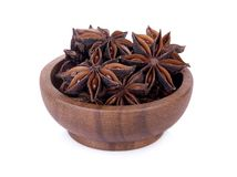 Chinese star anise seed in Chinese star anise seed in wooden bow stock images