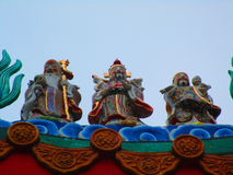 Chinese statue chinese temple. Traditional Chinese Colorful chinese style statue isolate (Kylin) on a temples arched entrance of Chinese shrine Stock Photography
