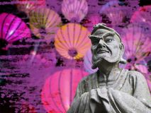 Chinese statue with lanterns and purple smoke in the background chinese new years eve concept stock photography
