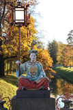 Chinese statue in park in pushkin in autumn. Tsarskoe Selo (Pushkin), Saint Petersburg, Russia. Stock Images