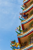 Chinese statues art on  the chinese temple roof Royalty Free Stock Photography