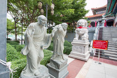 Chinese statues in the Buddhist garden temple. Royalty Free Stock Photo