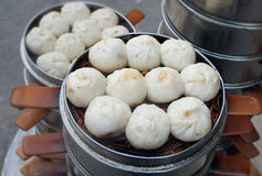 Chinese steamed baozi. For breakfast. Street food booth selling in Beijing. China Royalty Free Stock Images