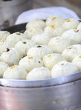 Chinese steamed baozi. In steamer for sale Stock Image