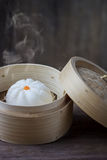 Chinese steamed bun in bamboo ware Royalty Free Stock Images