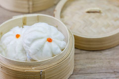 Chinese steamed bun  in bamboo ware Royalty Free Stock Image