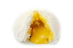 Chinese steamed bun show its yellow cream isolated Royalty Free Stock Photo