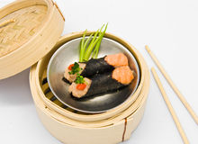 Chinese steamed dim sum roll seaweed salmon Stock Images