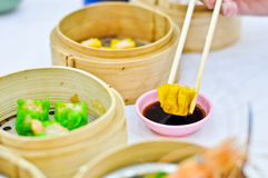 Chinese steamed dimsum in bamboo containers Royalty Free Stock Photography