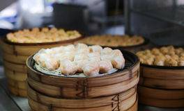 Chinese steamed dimsum in bamboo containers Royalty Free Stock Images
