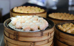 Chinese steamed dimsum in bamboo containers Stock Photography