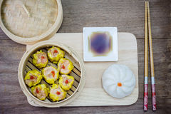 Chinese steamed dimsum and Steamed bun Royalty Free Stock Images