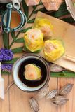 Chinese steamed dumpling and hot tea delicious. Stock Images