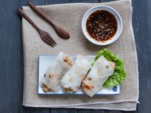 Chinese Steamed Rice Noodle Rolls royalty free stock image