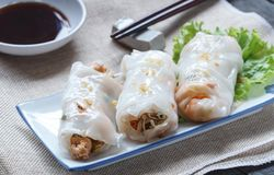 Chinese Steamed Rice Noodle Rolls, Selection focus royalty free stock photos