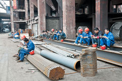 Chinese steel mill workers for lunch Royalty Free Stock Image