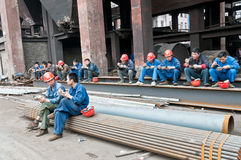 Chinese steel mill workers for lunch Royalty Free Stock Photography