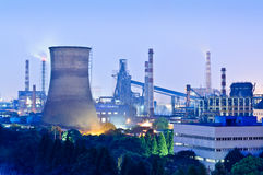 Chinese steelworks Industrial building at night Royalty Free Stock Images