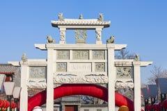 Chinese steen verfraaide overwelfde galerij Stock Afbeeldingen