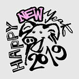 2019 Chinese-Sternzeichen-Jahr des Schwein-flippigen Druckes stock abbildung
