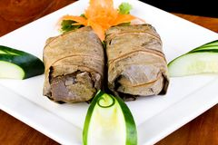 Chinese Sticky Rice wrapped in Lotus Leaf Royalty Free Stock Photography