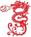 Chinese Stijl Dragon Breathing Fire Ball illustrat royalty-vrije illustratie