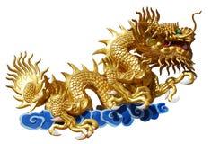 Chinese stijl gouden draak Stock Afbeeldingen