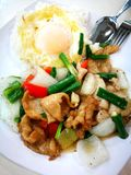 Chinese stijl vastgestelde lunch, varkensvleesplakken stirfry met rijst Royalty-vrije Stock Foto's