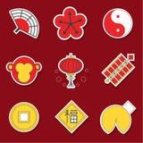 Chinese stijlinzameling van pictogrammen Royalty-vrije Stock Fotografie