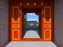 Chinese stijlwoonplaats en binnenplaats Royalty-vrije Stock Foto