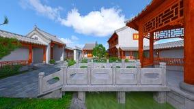 Chinese stijlwoonplaats en binnenplaats Royalty-vrije Stock Fotografie