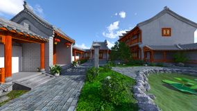 Chinese stijlwoonplaats en binnenplaats Royalty-vrije Stock Afbeeldingen