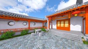 Chinese stijlwoonplaats en binnenplaats Stock Afbeelding