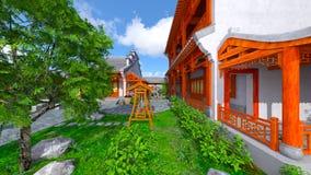 Chinese stijlwoonplaats en binnenplaats Stock Foto's