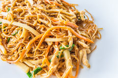 Chinese stir fried chicken egg noodle. With bamboo shoot, carrot, and other vegetables Stock Photos