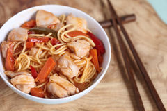 Chinese stir fried noodles with chicken Stock Image
