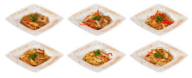 Chinese stir-fried noodles set with chicken meat, seafood Stock Photos