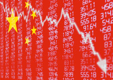 Chinese Stock Market Down. Chinese Stock Market - Arrow Graph Going Down on Red Chinese Flag Royalty Free Stock Photo